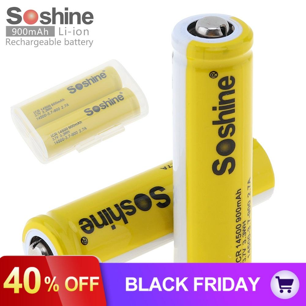 2pcs/lot Soshine 3.7V 900mAh ICR 14500 Li-ion Rechargeable Battery with Safety Relief Valve + Battery Storage Box Case image