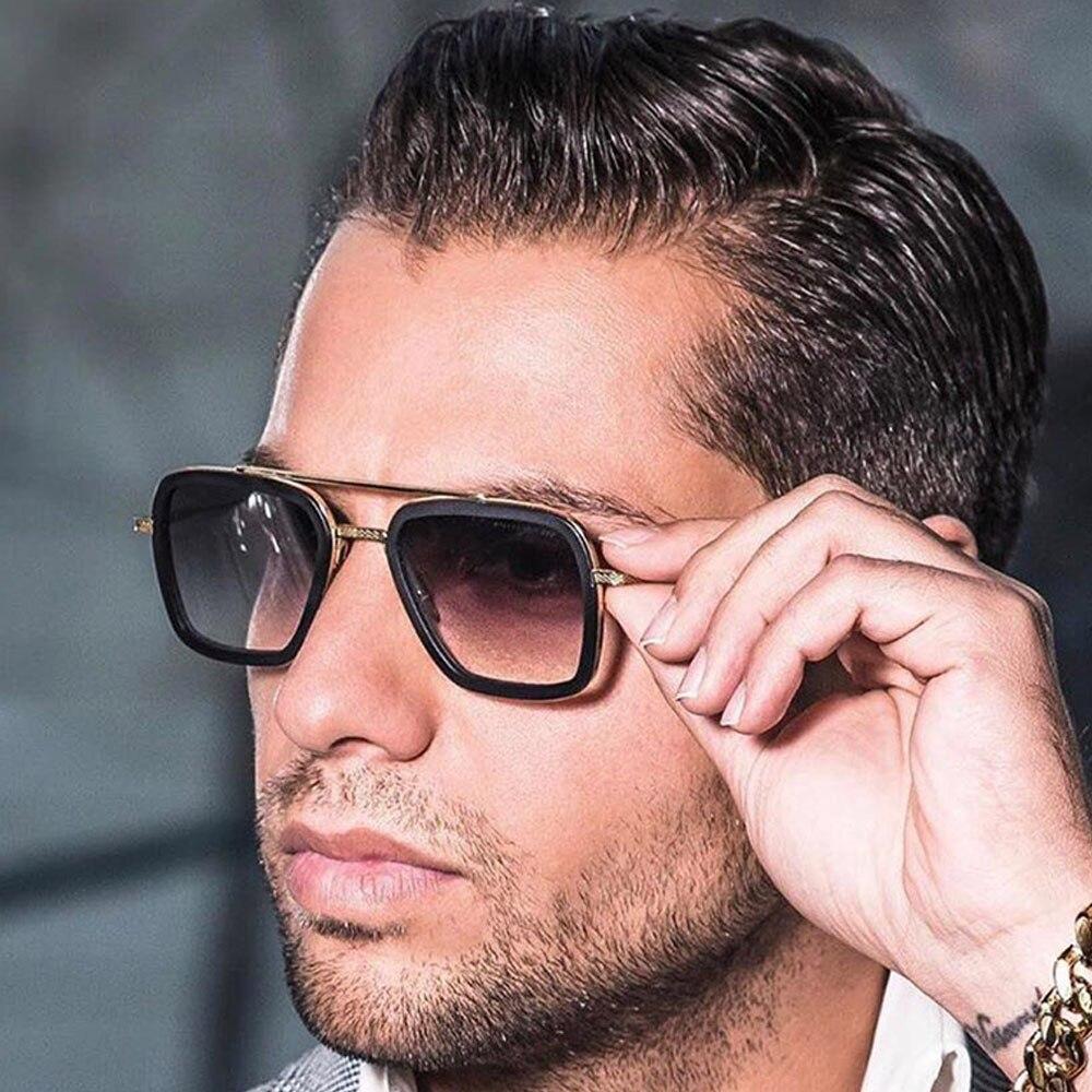 Small Summer Square Shades Vintage Steampunk Sunnglases Iron Tony Stark Sunglasses For Men Male Retro Sun Glasses Or Women 2020