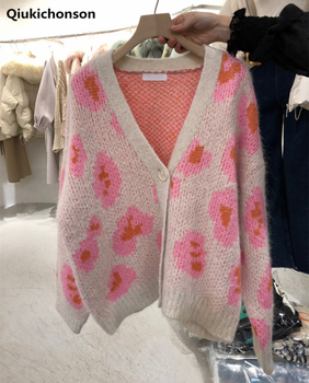 Cute Pink Flower Cardigan Knitted Women Autumn Winter Korean Style Button Cardigan Coat V-Neck Loose Oversized Sweater Jacket loose wool ball hat coat sweater 2020 autumn korean knitted cardigan women women fall fashion sweater cardigans v neck