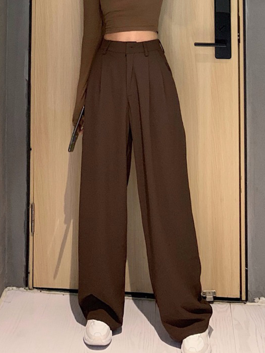 2020 Retro Solid Color Wild Straight Wide Leg Pants Female Spring New Korean Fashion High Waist Casual Long Pants