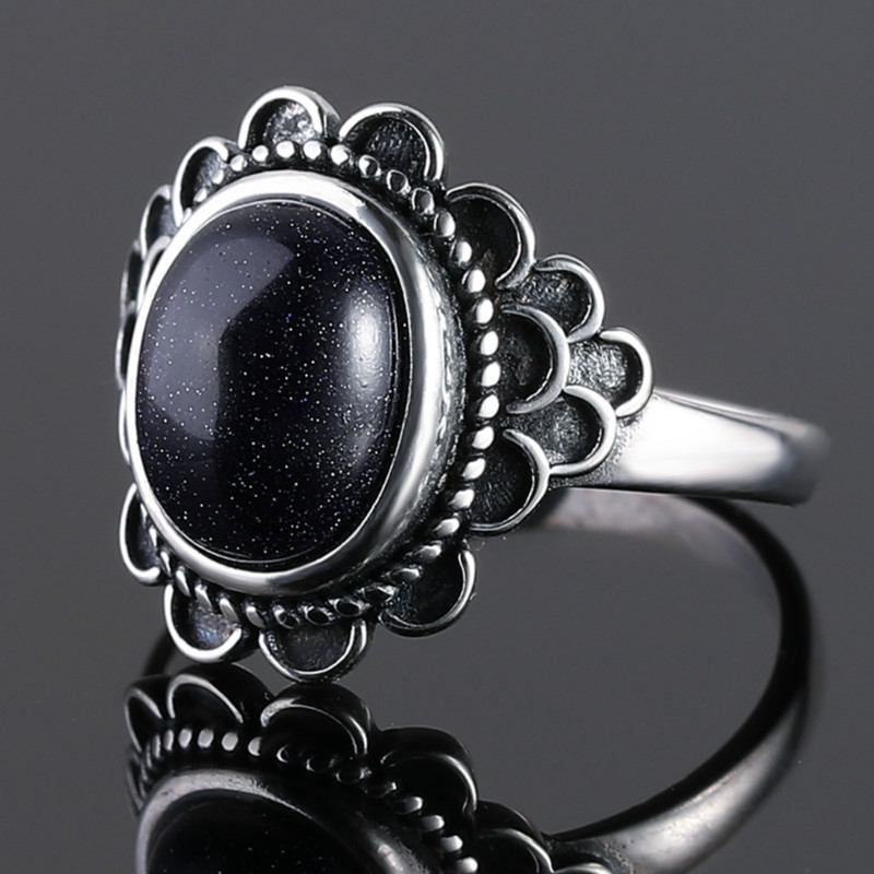 Ehtnic Flower Blue Sandstone Rings For Women 925 Sterling Silver Gemstone Sandstone Jewelry For Party Wedding Birthday Gift