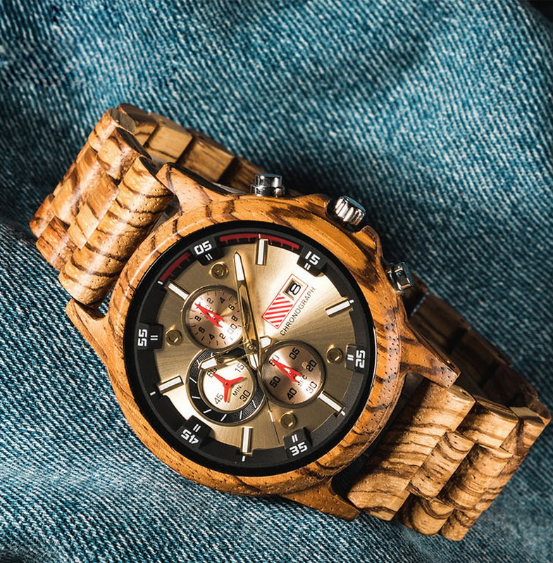 Wooden Watch Date Display Casual Men Luxury Wood Chronograph Sport Outdoor Military Quartz Watches in Wood