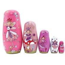 5 Teile/satz Rosa Engel Nesting Puppe Linde Russische Matryoshka Puppen Russische Traditionellen Funktion Ethnische Stil Unisex Puppen Geschenke