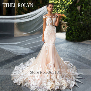Image 4 - ETHEL ROLYN Sexy Backless Mermaid Wedding Dress 2020 Short 3D Flowers Illusion Appliques Wedding Gowns vestido de novia