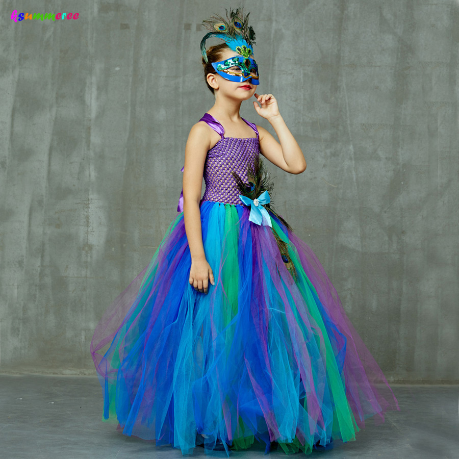 Flower Princess Peacock Costume for Girls Wedding Birthday Party Tutu Dress Kids Pageant Ball Gown Feathers Girl Tulle Dresses 3