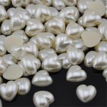 50 шт./лот 16 мм бежевый цвет имитация жемчуга полукруглые бусины в форме сердца украшения для свадебных открыток