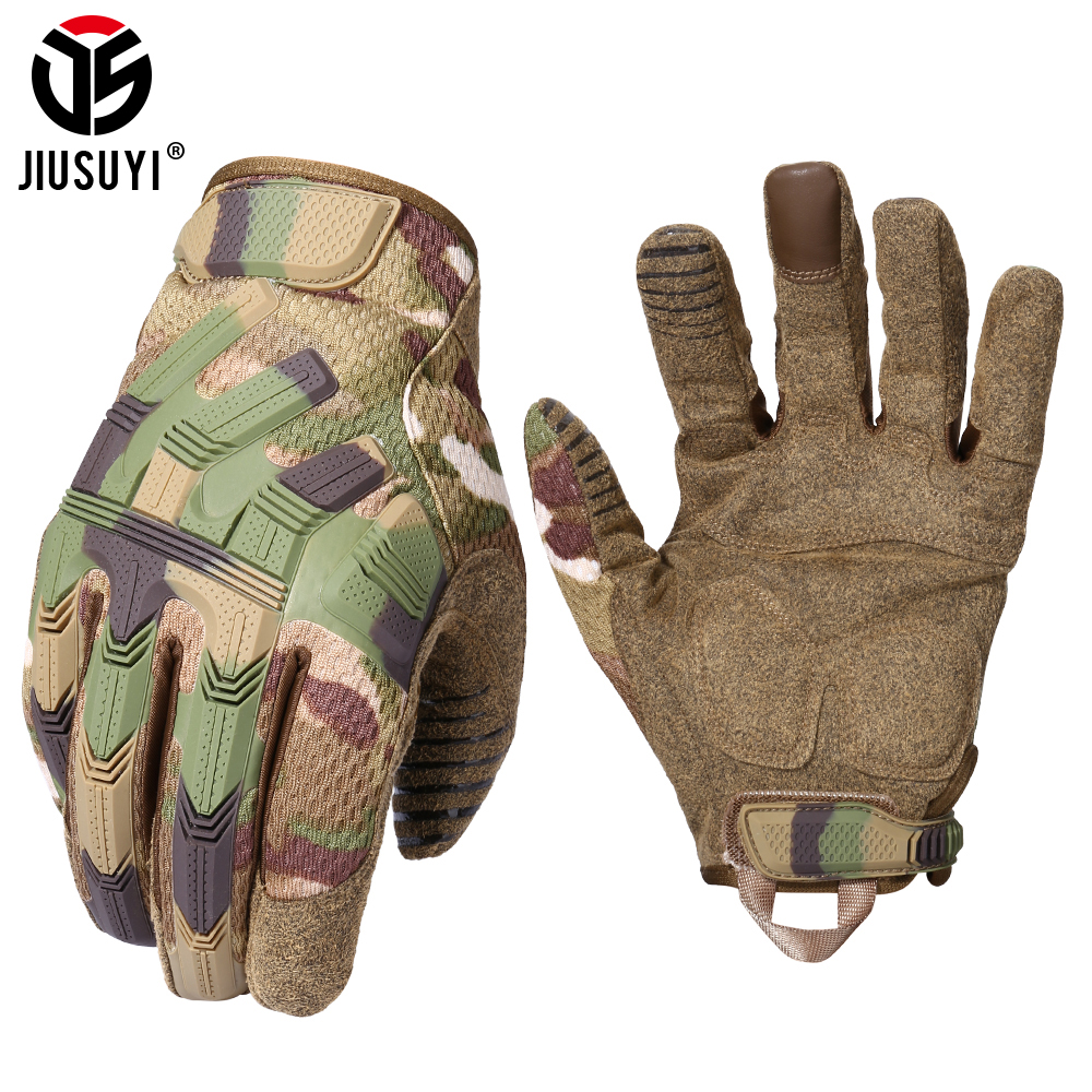 Tactical Army Full Finger Gloves Touch Screen Military Paintball Airsoft Combat Rubber Protective Glove Anti-skid Men Women New