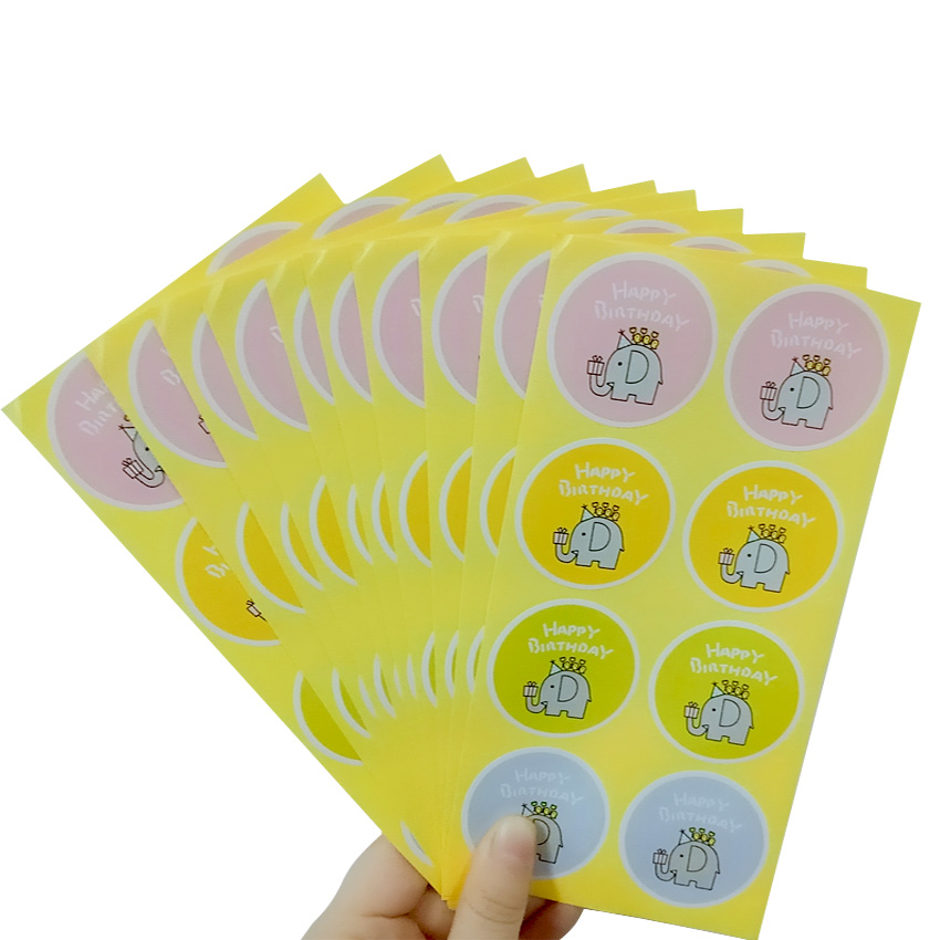80pcs lot Cartoon Elephant 39 Happy Birthday 39 Paper Seal Sticker Gifts Decorative Package Sealing Label For Handmade Products in Stationery Stickers from Office amp School Supplies
