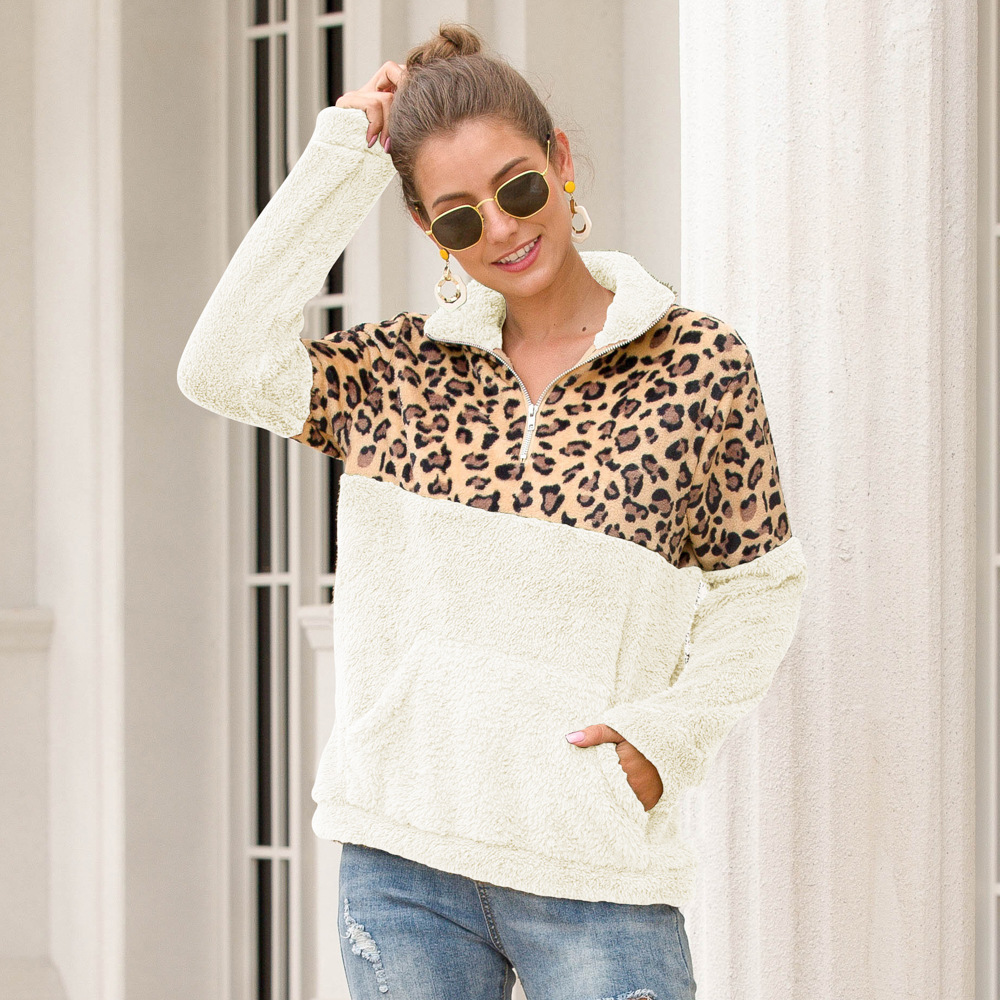 Long Sleeve Women Hoodies Leopard Stitching Plus Size Sweatshirt Women 2019 Autumn Winter New Pullover 2XL Female Fashion Hoodie