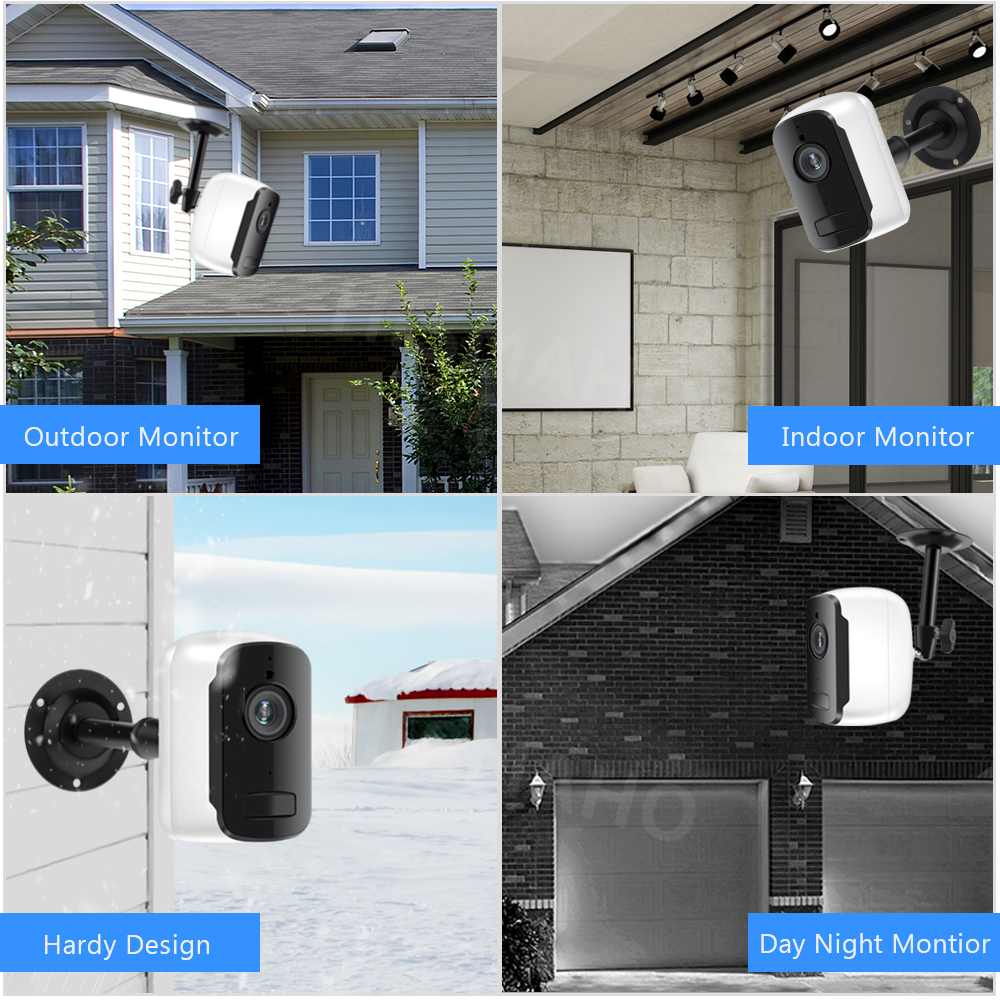 1080P HD WiFi IP Camera Outdoor Wireless Security Battery Charge Camera Audio Surveillance CCTV PIR Motion Detection SD Card