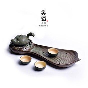 Tea tray ceramic large lotus pot bearing household retro personality dry bubble tray water storage type kung fu tea set LB30206