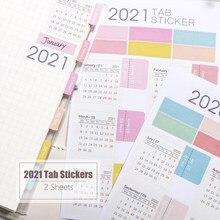2 folhas 2021 calendário caderno índice adesivos planejador funcional agenda mensal bookmark papelaria adesivos
