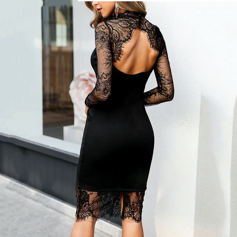 <font><b>6</b></font> Style Deep V Neck Spring Silver Sequined Backless <font><b>Dresses</b></font> For Women Long Sleeve Party <font><b>Dress</b></font> Lace Mesh Sleeve Vestidos S-<font><b>XL</b></font> image