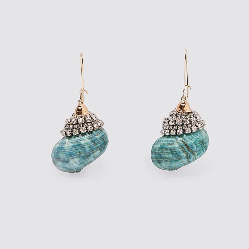 ZA Earrings 2020 Female Fashion Green Conch Shell Drop Earrings For Women Bohemian Rhinestone Dangle Earring Beach Style Jewelry