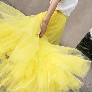 Image 2 - Jesienno zimowa bardzo długi siatkowy koronkowy Vintage rozkloszowana spódnica kobiety żółty tiul w pasie plaża podróżna piłka duża huśtawka spódnice