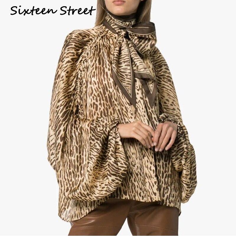 Blouse imprimé léopard pour femme lanterne manches noeud cou lâche casual Blouses chemise femme 2019 automne printemps Boho hauts à la mode