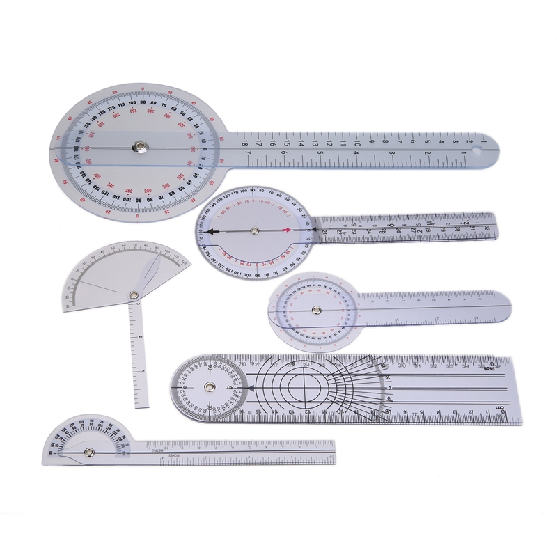 6Pcs Medical Spinal Ruler Spinal Finger Goniometer Protractors Multi-Ruler Angle 180/360 Degree Measuring Tool