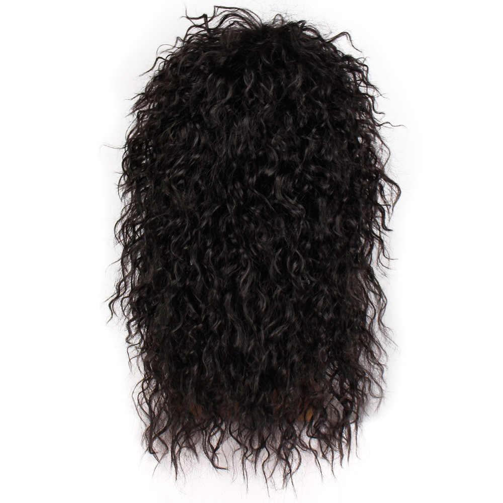 Damgalı muhteşem erkekler peruk uzun sentetik peruk uzatma saç siyah renk kadın postiş Punk kabarık başlık Cosplay peruk