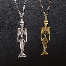 New Arrival Punk Skull Skeleton Mermaid Retro Silver Bronze Color Chain Long Pendant Necklace For Men Gifts Jewelry Halloween(China)