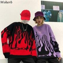 Woherb-suéter holgado de gran tamaño para hombre y mujer, ropa de calle Unisex de moda, estilo Harajuku, Hip Hop, Flame Fire, otoño e invierno, 2020