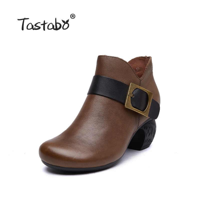 Tastabo manuel hakiki deri yüksek topuk kadın çizmeler siyah kahverengi Vintage doku S3655-5 rahat kadın ayakkabısı günlük ayakkabı