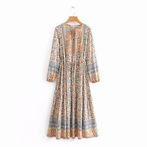 Image 5 - Vintage chic women elegant lace up  tassel floral print beach Bohemian  Maxi dress Ladies rayon Boho dress vestidos
