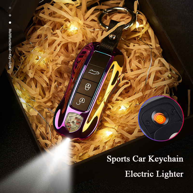 Lighter Keychain Isqueiro Dropship Suppliers Creative Cool Waterproof <font><b>Car</b></font> <font><b>Key</b></font> Lighter Smoking Accessories Men's Gife image