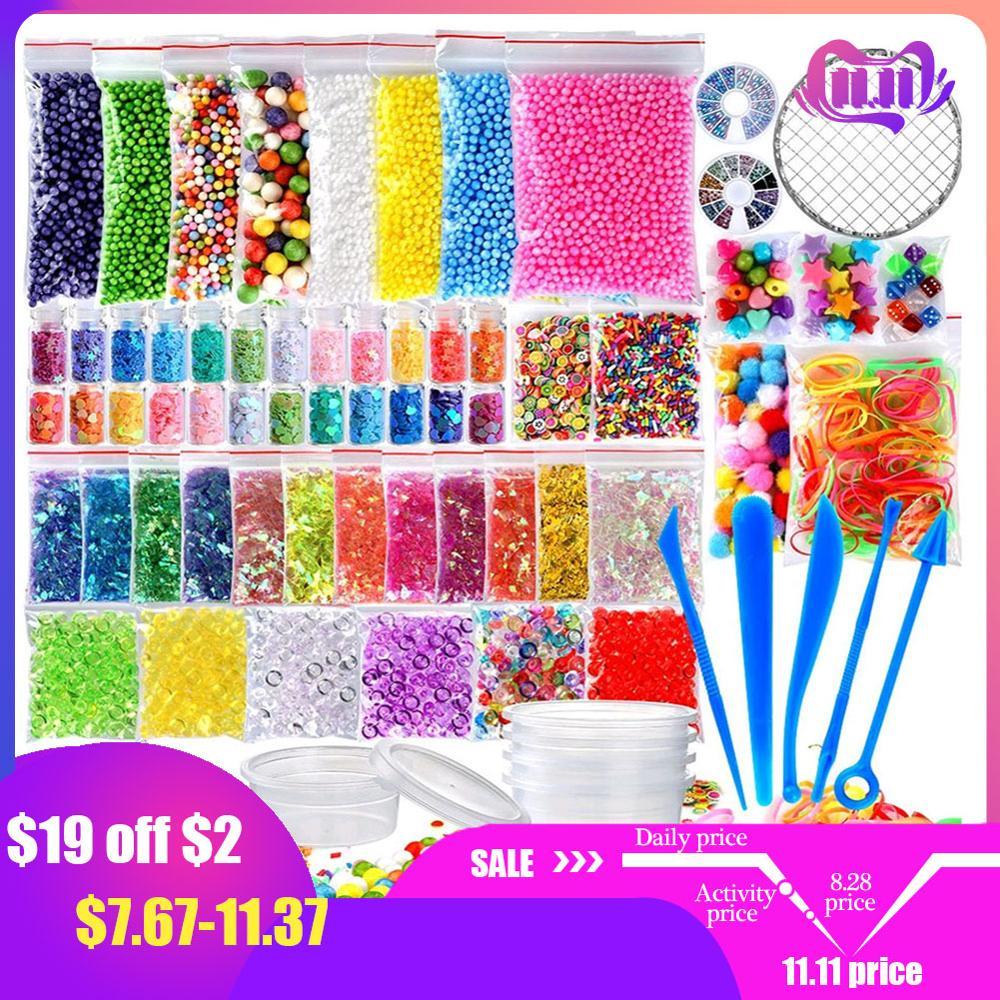 72 pacote que faz kits suprimentos para o lodo diy grânulo de bola de espuma de cor artesanal slime que faz o material conjunto