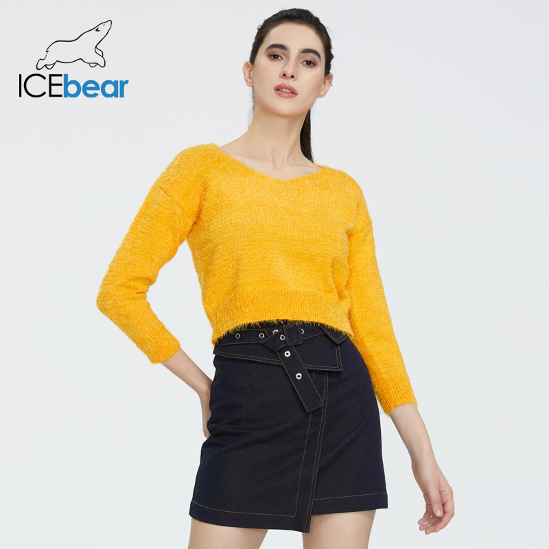 Icebear 2020 New European And American Spring Long Sleeve V-neck Joker Loose Navel Sweater AW-010