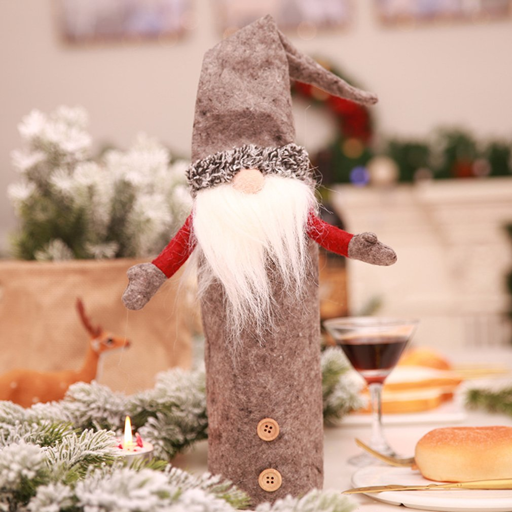 2018 Christmas Decoration Santa Claus Elf Bottle Covers Festival New Year Dinner Party Christmas Decorations For Home