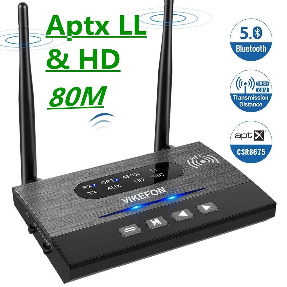 Receptor y transmisor de Audio Aptx HD de baja latencia con Bluetooth 5,0, SPDIF, 3,5mm, AUX, Jack, RCA, adaptador inalámbrico para coche, TV, PC, par 2, 80M