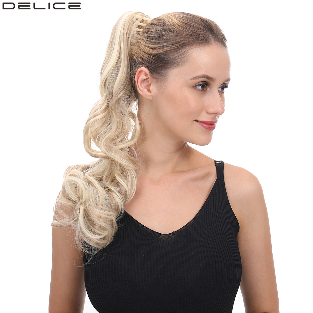 Delice Women's Long Curly Claw Ponytails Synthetic Hair Horse Tail Ponytail Hairpieces 22inches