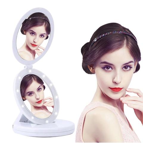 Alta qualidade 1x 5x amplia o led iluminado espelho de maquiagem dupla dobr vel viagem