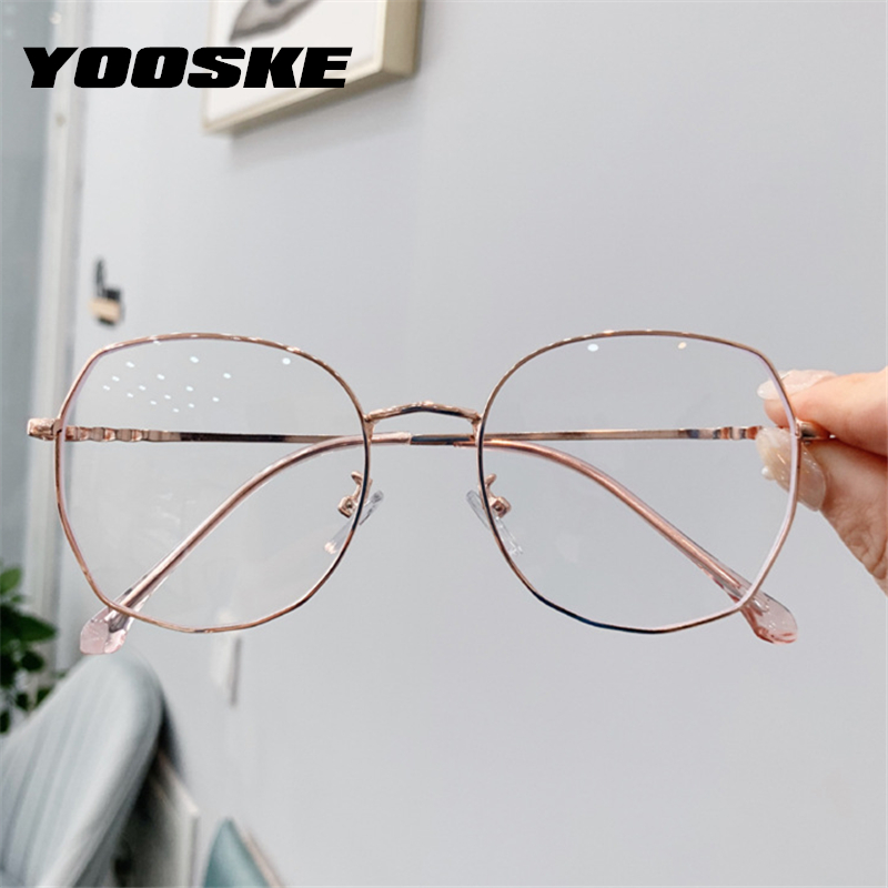 YOOSKE Transparent Glasses Frames Women Retro Oversized Optical  Eyeglasses Female Fashion Irregular Metal Myopia Frame