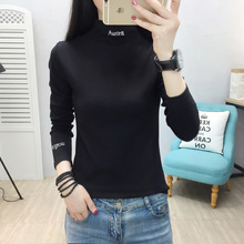 YUANYU Slim Casual Letter Embroidered Basic All Match Korea Long Sleeve Turtleneck Female Women knitting T-shirts