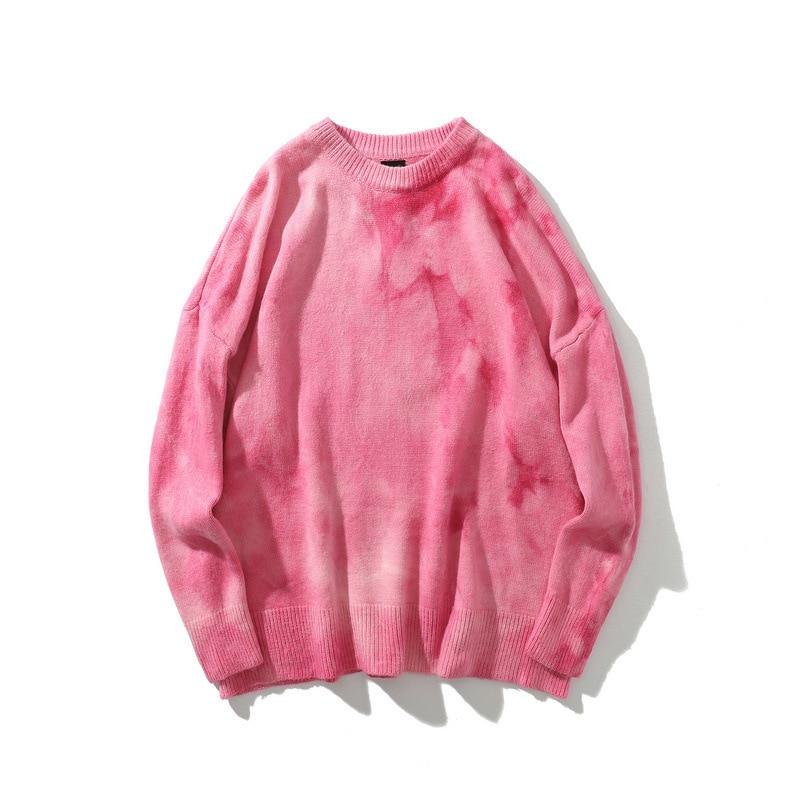 #1518 cravate teinture chandail hommes pull O cou Vintage automne hiver Hip Hop chandail à manches longues rétro Streetwear tricots homme hiver - 2