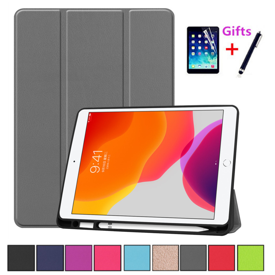 """For IPad 7th 10.2"""" Case 2019 A2198 With Pencil Holder Stand Cover For IPad 10.2 Case Auto Sleep / Wake+Screen Protector+pen"""