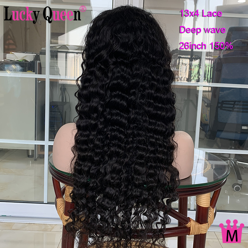 Lucky Queen Brzailian Deep Wave 13x4 Lace Front Wigs Pre-Plucked For Black Women 150% Density Remy Human Hair Wigs