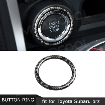 Carbon Fiber Car Engine Start Stop Button Trim Ring Decorative Sticker For Toyota GT86 FT86 ZN6 Subaru BRZ 2013-2017 image