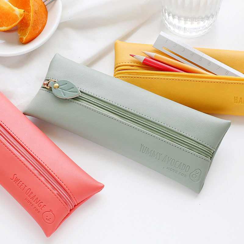 Coloffice Soft Leather Pen Bag Fruity Candy Color Simple Free Heart Series Creative Fashion Simple Hand Bag Stationery Bag 1PC