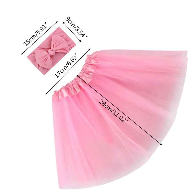 2 ピース/セットスウィート女の赤ちゃんチュールチュチュスカートヘアバンド新生児の写真の小道具