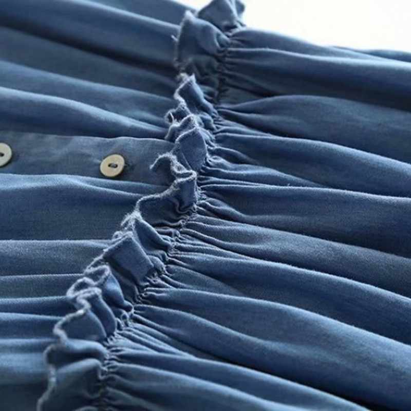 V-neck fino vintage denim vestido 2020 novo verão sem mangas drapeado sólido azul casual vestido elegante único breasted longo vestido