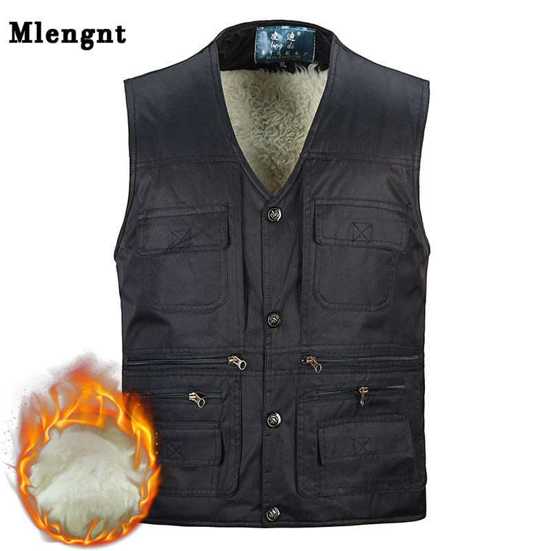 Winter Fleece Warm Vest For Men Autumn Male Casual Multi Pocket Photographer Sleeveless Jacket Mens Waistcoat With Many Pockets