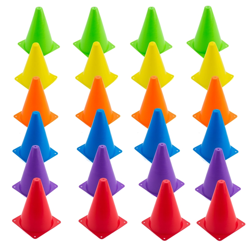 24 Packs Soccer Flexible Cone Sets,Indoor/Outdoor Agility Cones Sports Cone Sets,6 Colors