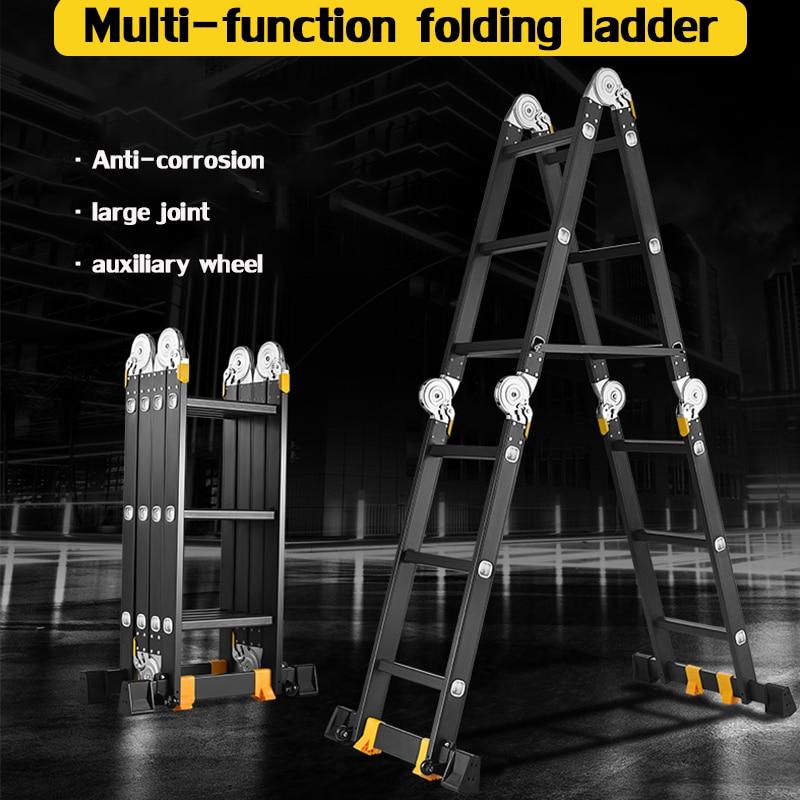 Multifunctional folding herringbone ladder 2.3m household herringbone ladder telescopic ladder lifting engineering ladder