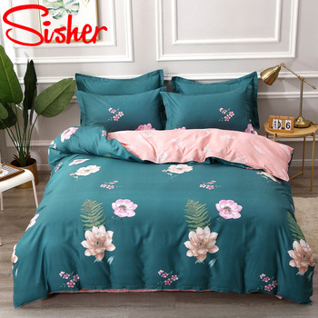 100% Cotton Pastoral Flower Printed 4pcs Bedding Sets Plaid Stripe King Size Duvet Cover Set Single Double Queen Soft Bed Sheets 4pcs 600tc egyptian cotton soft duvet cover bed sheet set queen king size silky soft simple style embroidery hotel bedding set