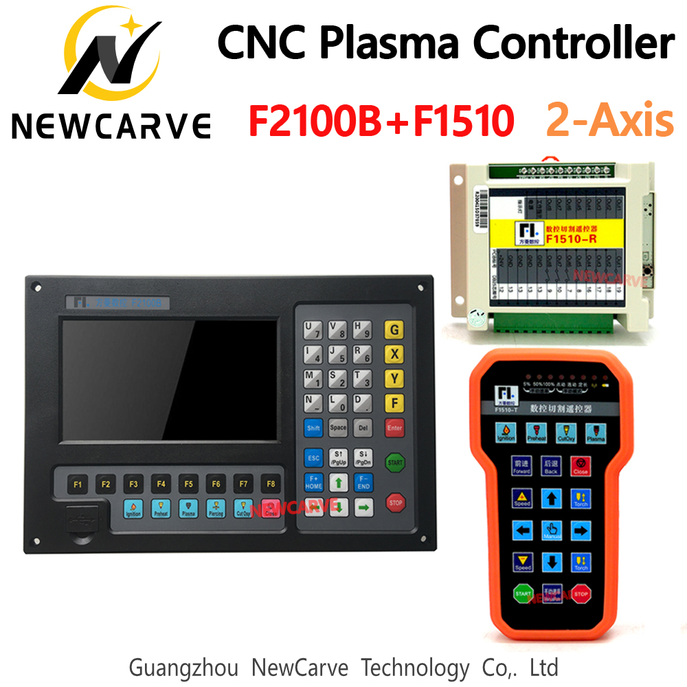 CNC F2100B 2-axis Plasma Linkage Controller With Wireless Anti-fall Remote F1510 For Plasma Flame Cutting Machine NEWCARVE