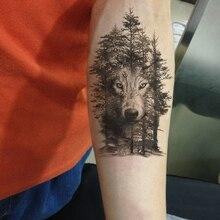 Купить с кэшбэком Rocooart Large Tattoo Sticker Wolf In Trees Fake Tattoo Taty Henna Tatouage Body Art Temporary Tattoo Stickers For Women Arms