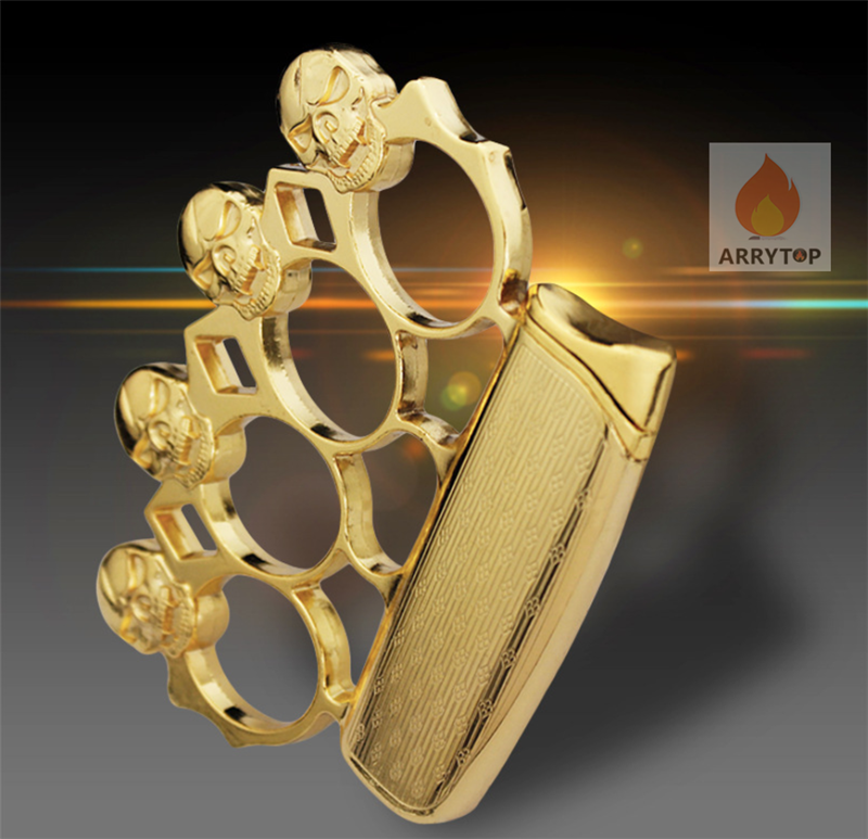 Metal  Gas Lighter  Brass Knuckles  Multi-function  Windproof Use For Self-defense  2 In 1  Butane Fuel GL013X