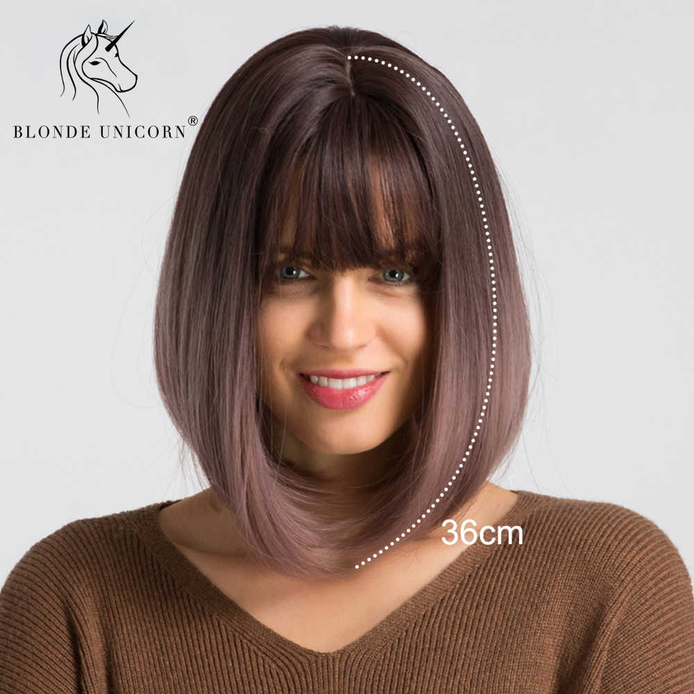 BLONDE UNICORN Synthetic Short Bob Wig Ombre Light Purple 14 Inch Straight Hair Cosplay Wig With Bangs Lolita Wigs For Womens
